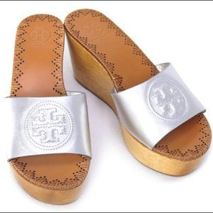 Tory Burch Patty Wedge Slide Sandals Silver
